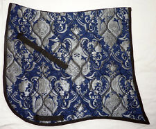 """SWALLOWTAIL  """"BLUE SILVER CHENILLE""""  BAROQUE DRESSAGE SADDLE PAD"""
