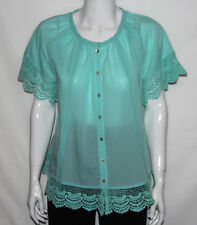 NEW Isaac Mizrahi Live! Size SMALL Blouse with Lattice Eyelet Detail SEAGLASS