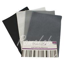 Confezione 8 fogli di feltro A4 in mix Dovecraft multipack toni nero grigio