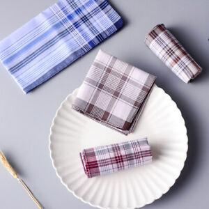 38*38CM Soft Cotton Handkerchiefs Men Gentlemen Plaid Striped Hanky Pocket Towel