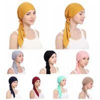 Depilar Cáncer Turbante Ruffle Sombrero de quimio Sombrero musulmán Hijab