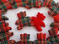 100! Sweet Padded Teddy Bears - Red Tartan & Felt Bear Applique Embellishments!