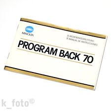 Minolta Program back 70 manual de instrucciones * Manual de Bedienungsanleitung