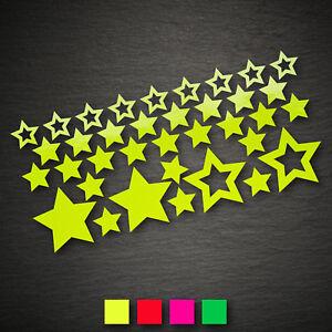 14007 Sterne Set 36 Stück NEON Sticker Aufkleber Auto Motorrad Tuning