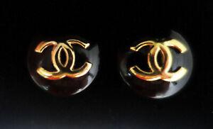 "Chanel Earings 19mm 3/4"" Black & Gold"
