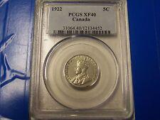 1922 Canada Nickel 5C PCGS XF40  **SWEET** FREE U.S. Shipping