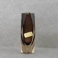 Original kleine Murano Kristall Blumenvase, Facettiert, Diamantschliff, braun