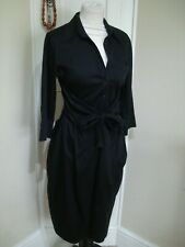 BNWOT~ Next Size~8 Black Stretch Cotton Flared Belted Shirt Dress~ra