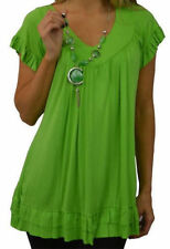 Womens Frill Necklace Gypsy Plus Size Ladies Short Sleeve Long V Neck Tunic Tops