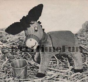 Vintage Knitting Pattern To Make Cute Toy Donkey.