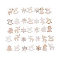 30Pcs DIY Craft Christmas Xmas Wood Chip Hanging Ornaments Decoration Gift0U
