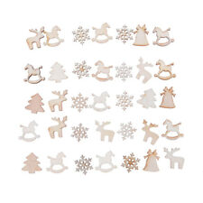 30Pcs DIY Craft Christmas Xmas Wood Chip Hanging Ornaments Decoration Gift ^