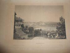 1850 Incisione Veduta della città di Pozzuoli Napoli Regno delle due Sicilie