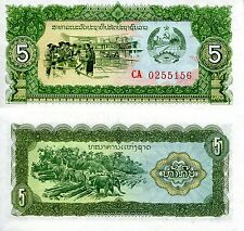 LAOS 5 Kip Banknote World Paper Money UNC Currency Pick p26a Note Bill (Lao)