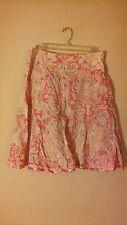 Jones New York Pink Paisley 100% Cotton Knee Length A-Line Skirt. Size 8.