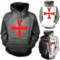 knights templar Hooded 3D Print Hoodie Casual Sweater Pullover Tops Coat