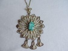 Vintage Filigree Scarab Beetle Pendant Runway Necklace Jewelry (xx174)
