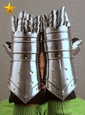 Medieval Knight Gauntlets Functional Armor Gloves Leather Steel SCA LARP GV1