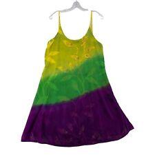 Sacred Threads Tie Dye Dress Beaded Sleeveless Lightweight Womens Large