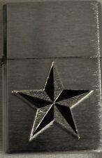 CHROME BUTANE LIGHTER WITH METAL NAUTICAL STAR TATTOO DESIGN