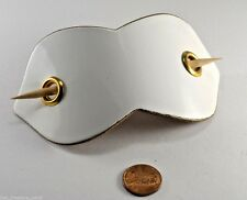 Vintage Hair Accessory White Patent Leather Hair Barrette With Stick