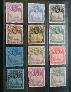 ASCENSION 1924 KG V 1/2d to 3s SG 10 - 20  Sc 10 - 21 ship set 12 MLH/MH