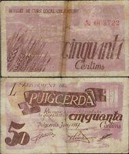 50 Céntimos. Ayuntamiento de Puigcerda. Gerona. Junio de 1937. Sin serie 002722.