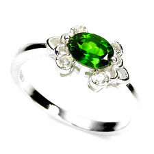 Sterling silver 925 Solitaire Chrome Diopside Oval Faceted Ring Size P.5 (US 8)
