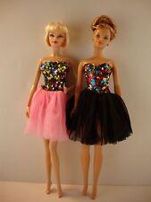 Set of 2 Cocktail Dresses Multi Color Sequins & tulle Skirts in Pink Black