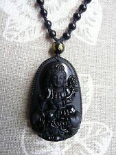 Beautiful Buddha obsidian amulet necklace. Free P&P //i