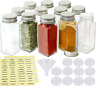 14 Pcs 4oz Empty Square Glass Spice Bottles Jar with Labels Lids Marker & Funnel