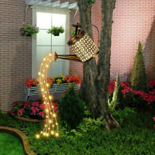 More details for solar powered garden watering can led string light outdoor art lamp decor hollow