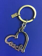 Coach Key chain Pave Script Heart Pink Crystals #F92631 J1