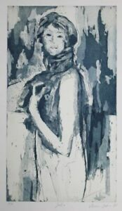 Julia - Armin Guther signierte Farbaquatinta-Radierung blau epreuve artiste 1998