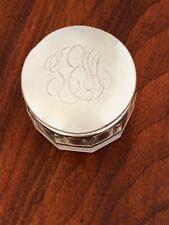 - ROGER WILLIAMS STERLING SILVER AND CUT GLASS DRESSER JAR MONO G.E.M.