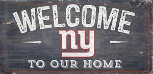 """NY New York Giants Welcome to our Home Wood Sign - 12"""" x 6""""  Decoration Gift"""