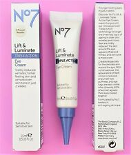 Lift and Luminate Triple Action Eye Cream By Boots No7 1 x 15ml 100% Genuine