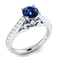 Women Round Cut Blue Sapphire 925 Silver Jewelry Elegant Wedding Ring Size 6-10