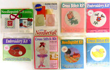 8 Packs Needlecraft Magazine Cross Stitch Embroidery Card Kits / Envelopes FUN!