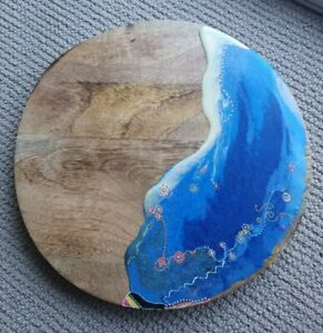 ABORIGINAL Handcrafted Resin Cheese Board Wooden Cutting Board - ARTIST signed