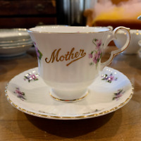 "Royal Windsor English Fine Bone China, ""Mother"" periwinkle flower cup and saucer"