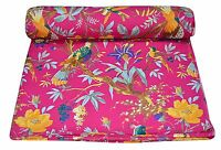 Indian Decorative Printed Sewing Pink Bird Print Fabric Craft Material By 1 Yard