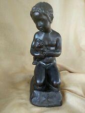 Bronze Boy Sculpture Holding Teddy Bear signed E. Borch.