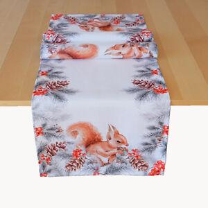 Tischläufer Eichhörnchen 40x140 cm Tannenzweige Tannenzapfen Läufer Herbst NEU