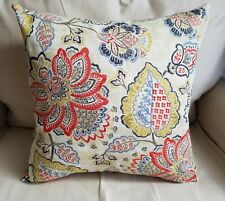 Beige and Red Jacobean Print Cotton Duck Pillow Cover- Various Sizes