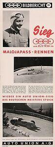 VINTAGE RACE CAR POSTER AUTO UNION MALOJAPAS RENNEN 1938 HANS STUCK