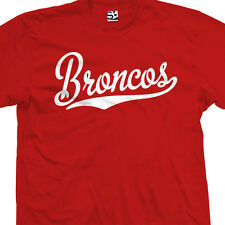Broncos Script & Tail T-Shirt - Baseball Style Text Football All Sizes & Colors