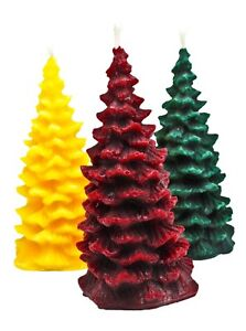 Three Small Christmas Tree Candles, Various Colours, Pure Beeswax