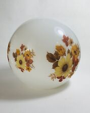 Vintage Floral Opal Milk White Glass Globe Lamp Shade