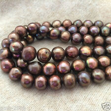 """6-7mm Real Natural Chocolate Freshwater Pearl Rondelle Loose Beads 15""""AAA"""
